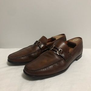 Santoni brown leather loafers size 13